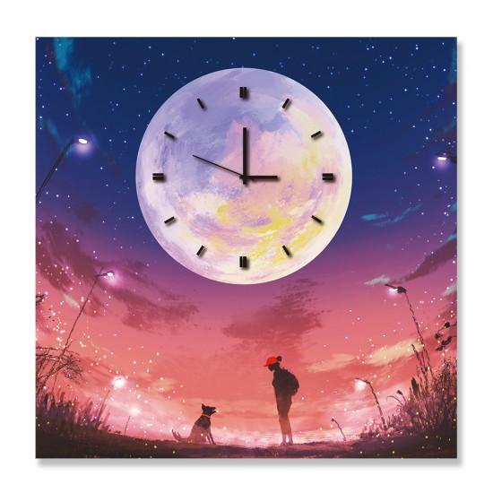 24mama掛畫 單聯式 插畫 月亮 星星 夜晚 動物 人 無框畫 時鐘掛畫 30x30cm-月亮