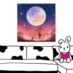 24mama掛畫  單聯式  插畫 月亮 星星 夜晚 動物 人 無框畫 時鐘掛畫 50x50cm-月亮