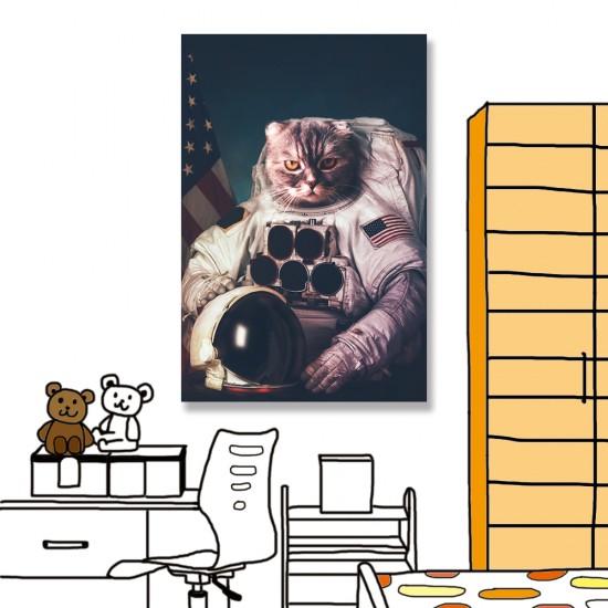 24mama掛畫 單聯式 宇航員 美國 動物 無框畫 40x60cm-貓咪太空人