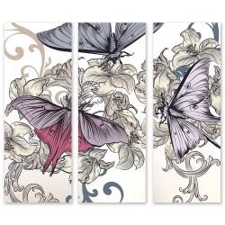 24mama 三聯式 藝術繪畫 昆蟲 優雅元素 華麗 無框畫 30x80cm-花卉蝴蝶