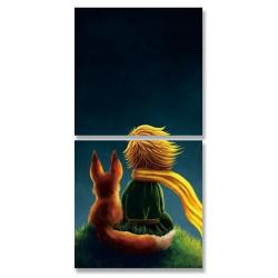 24mama掛畫 二聯式 動物 人物 草地 插畫 無框畫 時鐘掛畫 30x30cm-小王子和狐狸01