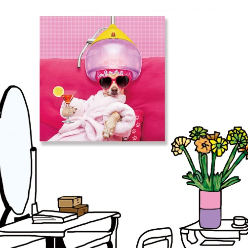 24mama掛畫  單聯式  動物 狗 滑稽 雞尾酒 沙龍 搞笑 有趣 無框畫 30x30cm-吉娃娃