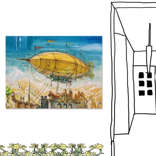 24mama掛畫 單聯式 插畫 飛艇 天空 環遊世界 無框畫 40x30cm-環遊世界