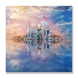 24mama掛畫 單聯式 月亮 島嶼 奇妙 景觀 古老 城堡 夕陽 水中 建築 無框畫 30x30cm-美麗的仙境01