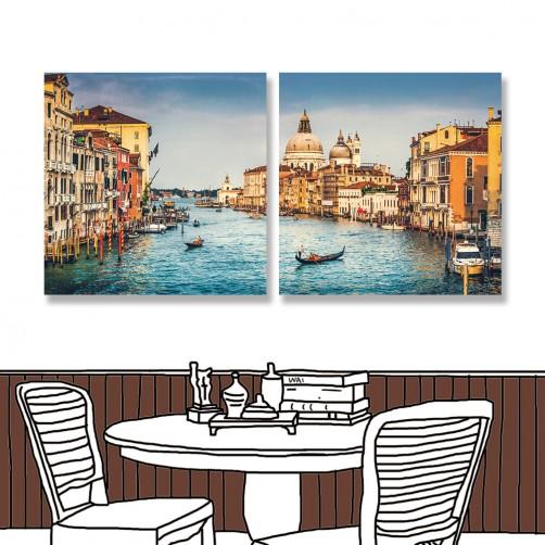 24mama掛畫 二聯式 大運河 聖瑪麗亞˙德拉禮炮 義大利 復古 老式 無框畫 30x30cm-愛情之城