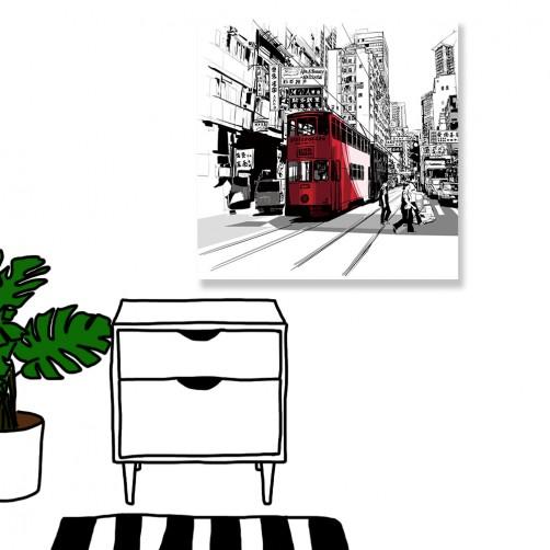 24mama掛畫  單聯式  巴士 招牌 街道 車子 路人 建築 鐵軌 無框畫 30x30cm-香港街