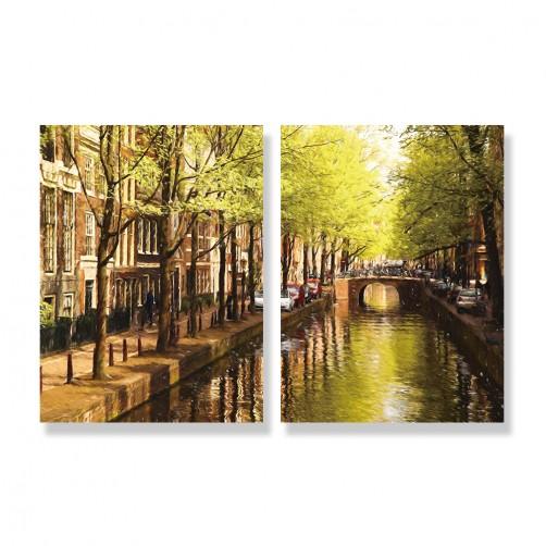 24mama掛畫 二聯式 歐洲荷蘭 繪畫藝術 城市建築 河水 汽車 街道 無框畫 30x40cm-阿姆斯特丹街