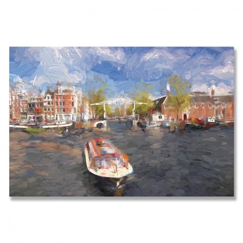 24mama掛畫 單聯式 歐洲荷蘭 繪畫藝術 城市建築 船 河水 無框畫 60x40cm-阿姆斯特丹港