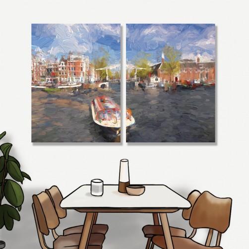 24mama掛畫 二聯式 歐洲荷蘭 繪畫藝術 城市建築 船 河水 無框畫 30x40cm-阿姆斯特丹港