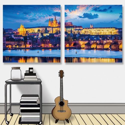 24mama掛畫 二聯式 暮光之城 教堂 歐洲 中世紀 河 無框畫 30x30cm-黃昏布拉格城堡