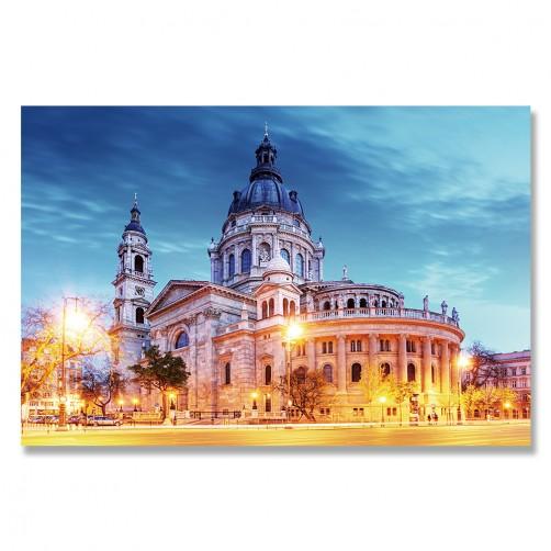 24mama掛畫 單聯式歐洲布達佩斯 城市建築 天主教 天空 日出 無框畫 60x40cm-聖史蒂芬教堂