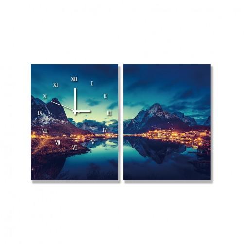 24mama掛畫 二聯式 日落 山 峽灣 海港 房子 挪威 天空 冬天 水 無框畫 時鐘掛畫 30x40cm-羅弗敦群島雷尼村