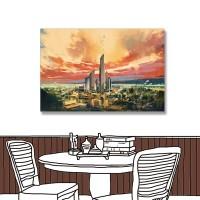 24mama 單聯式 城市 藝術 風景 無框畫 60x40cm-城市風景