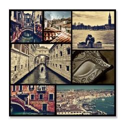 24mama掛畫  單聯式  湖 水世界 義大利 船 建築 面具 無框畫 30x30cm-威尼斯世界