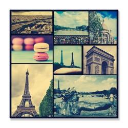 24mama掛畫  單聯式  巴黎鐵塔 塞納河 凱旋門 聖心大教堂 甜點 法國 無框畫 30x30cm-巴黎世界