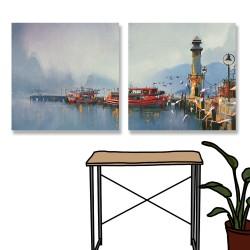 24mama掛畫 二聯式 漁船 港口 早晨 繪畫風格 無框畫 時鐘掛畫 30x30cm-漁船港口