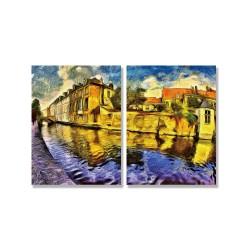 24mama掛畫 二聯式 城市建築 歐洲荷蘭 黃昏 中世紀 無框畫 30x40cm-布魯日河