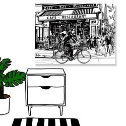 24mama掛畫 單聯式 巴黎 咖啡館 街 黑白 鐵塔 無框畫 40x30cm-巴黎咖啡館