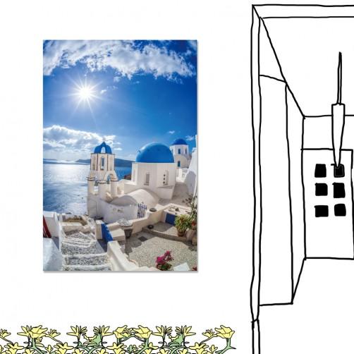 24mama掛畫 單聯式 希臘 教堂 藍色圓頂 無框畫 40x60cm-伊亞鎮01