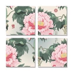 24mama掛畫 多聯式 傳統水墨 美麗花朵 無框畫 30x30cm-牡丹