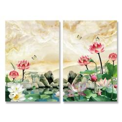 24mama掛畫 二聯式 大理石 白色 粉紅色 花卉 葉子 蝴蝶 無框畫 時鐘掛畫 40x60cm-池塘裡睡蓮