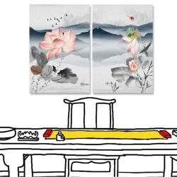 24mama掛畫 二聯式 湖 漁民 山丘 花朵 飛翔 鳥群 無框畫 40x60cm-粉色荷花