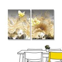 24mama掛畫 二聯式 抽象 波浪 線條 花卉 無框畫 30x40cm-黃色睡蓮