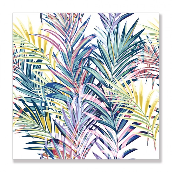24mama掛畫 單聯式 五顏六色 夏天 葉子 柔和 藝術 豐富多彩 插圖 無框畫 30x30cm-色彩棕梠葉