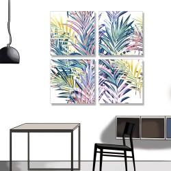 24mama掛畫 多聯式 五顏六色 夏天 葉子 柔和 藝術 豐富多彩 插圖 無框畫 30x30cm-色彩棕梠葉