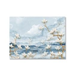 24mama掛畫 單聯式 時鐘掛畫 山丘 植物花卉 天空 花瓣 細枝 無框畫 40x30cm-雲彩大白花