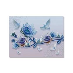24mama掛畫 單聯式 美麗花卉 動物 蝴蝶 昆蟲 藍色 抽象 無框畫 40x30cm-藍玫瑰與鳥