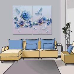 24mama掛畫 二聯式 美麗花卉 動物 蝴蝶 昆蟲 藍色 抽象 無框畫 40x60cm-藍玫瑰與鳥