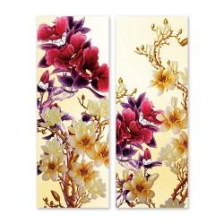 24mama掛畫 二聯式 美麗花卉 細枝 淺色 深色 米色 金色 花苞 無框畫 30x80cm-玉蘭花和牡丹