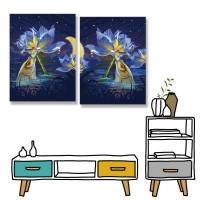 24mama掛畫 二聯式 夜晚 湖 新月 花卉 動物 魚 無框畫 30x40cm-夜空睡蓮