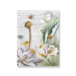 24mama掛畫 單聯式 動物昆蟲 蝴蝶 美麗花卉 植物 蓮藕 荷葉 無框畫 30x40cm-睡蓮鯉魚