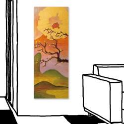 24mama掛畫 單聯式 花卉 金色 太陽 山丘 藝術 日本 樹 無框畫 30X80cm-櫻花與富士山