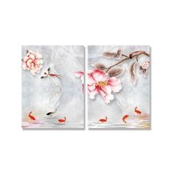 24mama掛畫 二聯式 插圖 大理石 花卉 水中 動物 鳥 魚 無框畫 時鐘掛畫 30x40cm-夢幻般花朵