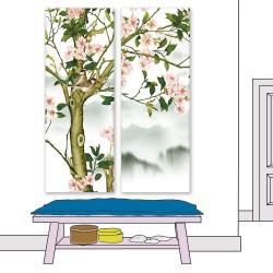 24mama掛畫 二聯式 插圖 復古 花卉 動物 鳥 樹 山 無框畫 30x80cm-木蘭花01