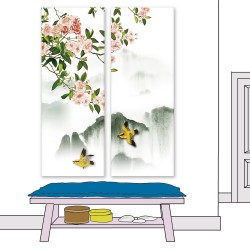 24mama掛畫 二聯式 插圖 復古 花卉 動物 鳥 樹 山 無框畫 30x80cm-木蘭花02