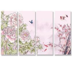 24mama掛畫 四聯式 花卉 動物 魚 昆蟲 蝴蝶 樹 無框畫 30x80cm-牡丹與櫻花