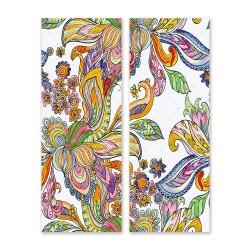 24mama掛畫 二聯式 美麗植物花卉 藝術 豐富多彩 抽象創作 無框畫 30x80cm-禪繞畫花卉01