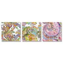 24mama掛畫 三聯式 美麗植物花卉 藝術 豐富多彩 抽象創作 無框畫 30x30cm-禪繞畫花卉