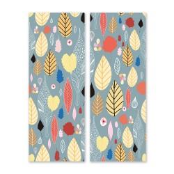24mama掛畫 二聯式 五顏六色 圖案 植物 葉子 復古 插圖 藝術花卉 無框畫 30x80cm-美麗秋葉01