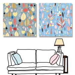 24mama掛畫 二聯式 五顏六色 圖案 植物 葉子 復古 插圖 藝術花卉 無框畫 30x30cm-美麗秋葉