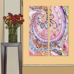 24mama掛畫 二聯式 美麗植物花卉 藝術 豐富多彩 抽象創作 無框畫 30x80cm-禪繞畫花卉03