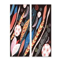 24mama掛畫 二聯式 五顏六色 復古 藝術繪畫 插圖 創造力 無框畫 30x80cm-抽象葉子和羽毛01