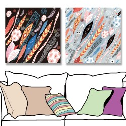24mama掛畫 二聯式 五顏六色 復古 藝術繪畫 插圖 創造力 無框畫 30x30cm-抽象葉子和羽毛