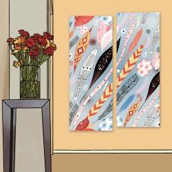 24mama掛畫 二聯式 五顏六色 復古 藝術繪畫 插圖 創造力 無框畫 30x80cm-抽象葉子和羽毛02