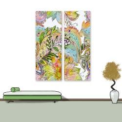 24mama掛畫 二聯式 美麗植物花卉 藝術 豐富多彩 抽象創作 無框畫 30x80cm-禪繞畫花卉02