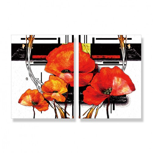 24mama掛畫 二聯式 藝術 插圖 美麗植物花卉 春天 夏天 無框畫 30x40cm-抽象花卉02